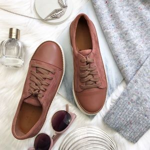 Dark Dusty Rose Suede/Leather Cap Toe Sneakers
